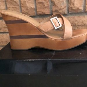 Bebe Tan Leather Wedge Sandals